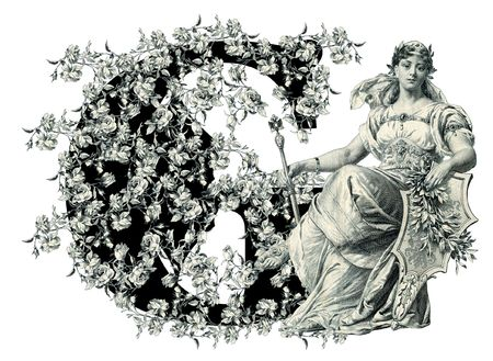 Luxuriously illustrated old capital letter G with flowers and Woman. photo