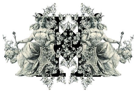 Luxuriously illustrated old capital letter H with flowers and Woman. photo