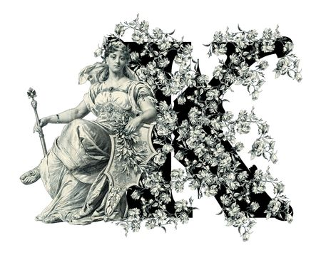 luxuriously: Luxuriously illustrated old capital letter K with flowers and Woman. Stock Photo