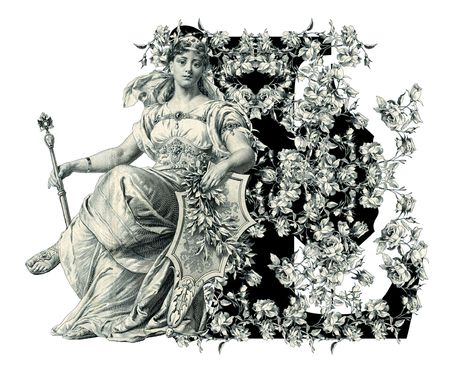 Luxuriously illustrated old capital letter L with flowers and Woman. photo