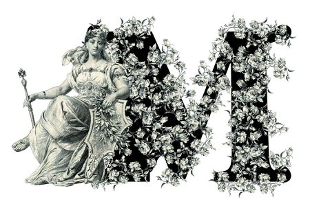 ancient alphabet: Luxuriously illustrated old capital letter M with flowers and Woman.