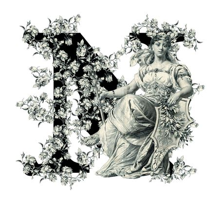 Luxuriously illustrated old capital letter N with flowers and Woman. photo