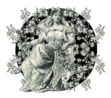 Luxuriously illustrated old capital letter O with flowers and Woman. photo