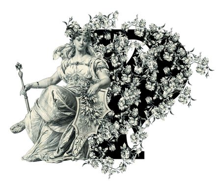 luxuriously: Luxuriously illustrated old capital letter P with flowers and Woman. Stock Photo