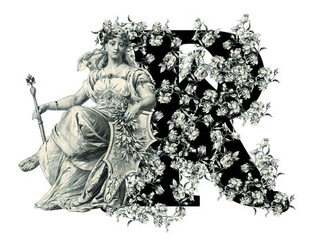 luxuriously: Luxuriously illustrated old capital letter R with flowers and Woman Stock Photo