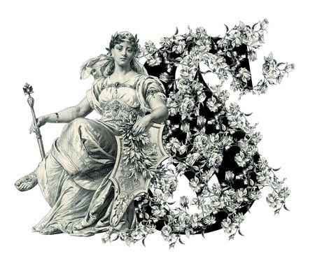 Luxuriously illustrated old capital letter S with flowers and Woman. photo