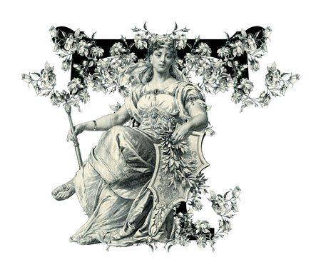 old victorian letter: Luxuriously illustrated old capital letter T with flowers and Woman.