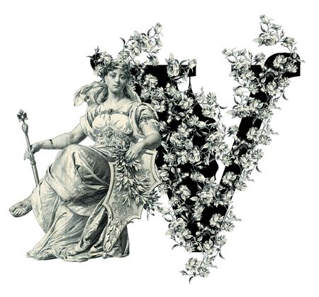luxuriously: Luxuriously illustrated old capital letter V with flowers and Woman. Stock Photo