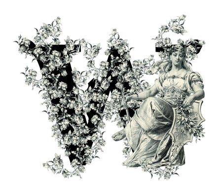 Luxuriously illustrated old capital letter W with flowers and Woman. photo