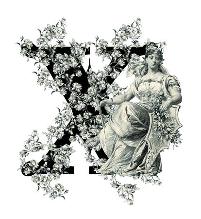 old letters: Luxuriously illustrated old capital letter X with flowers and Woman. Stock Photo