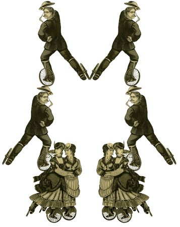 patines: Lujosamente color hab�a ilustrado antiguo marco victoriana con la mujer de dos y cuatro hombre sobre patines.