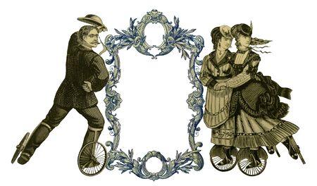 patines: Lujosamente color hab�a ilustrado antiguo marco victoriana con dos mujer y hombre en patines.  Foto de archivo