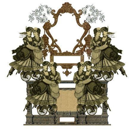 luxuriously: Luxuriously illustrated old victorian frame with eight woman on roller skates.