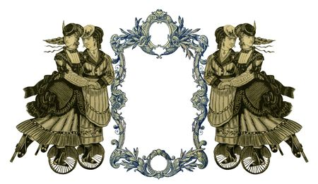 Luxuriously illustrated old victorian frame with four woman on roller skates. Stock Photo - 6837675