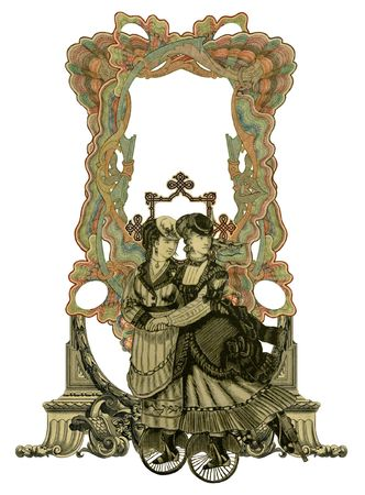 luxuriously: Luxuriously illustrated old victorian frame with two woman on roller skates.