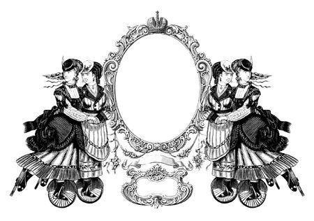 patines: Lujosamente ilustrado antiguo marco victoriana con cuatro mujer en patines. Foto de archivo