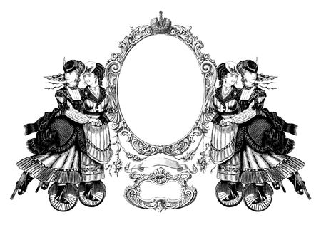 Luxuriously illustrated old victorian frame with four woman on roller skates. photo
