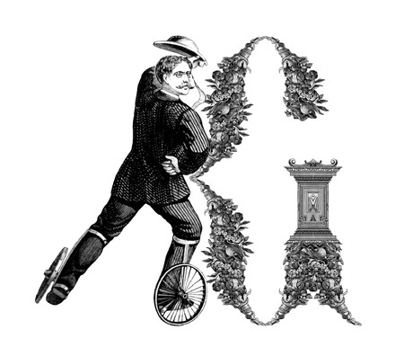 Luxuriously illustrated old capital letter G with man on roller skates. photo
