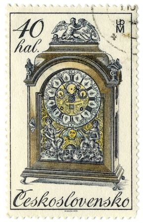 horologe: Czechoslovakia - CIRCA 1979: A stamp printed in Czechoslovakia shows image of the clock, circa 1979.