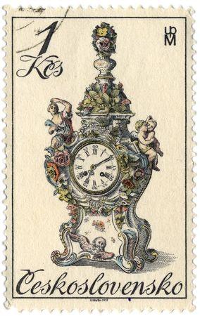 czechoslovakia: Czechoslovakia - CIRCA 1979: A stamp printed in Czechoslovakia shows image of the clock, circa 1979.