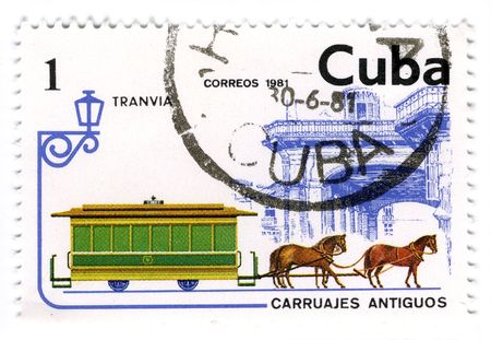 CUBA - CIRCA 1981: A stamp printed in Cuba shows image of the crew with horses, circa 1981. Stock Photo - 6901715