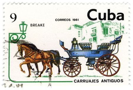 CUBA - CIRCA 1981: A stamp printed in Cuba shows image of the crew, with horses, circa 1981.
