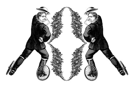 Luxuriously illustrated old capital letter O with man on roller skates.