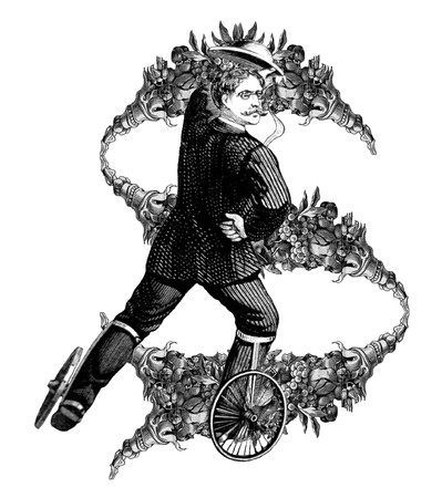 Luxuriously illustrated old capital letter S with man on roller skates. photo