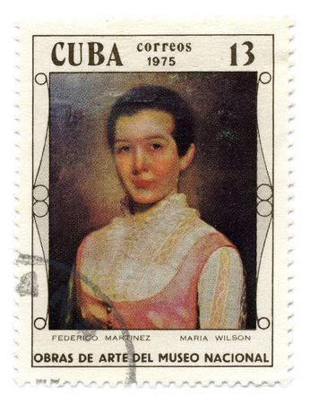 martinez: CUBA - CIRCA 1975: A stamp printed in CUBA shows image of the portrait Maria Wilson by Fedrico Martinez.