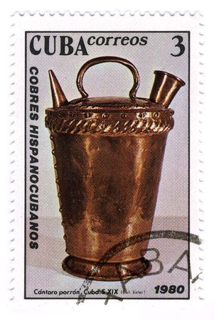 CUBA - CIRCA 1980: A stamp printed in CUBA shows image of the copper kettle. Stock Photo - 6901729
