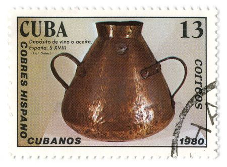 CUBA - CIRCA 1980: A stamp printed in CUBA shows image of the copper kettle. Stock Photo - 6901730