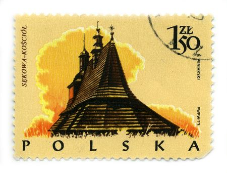 POLAND - CIRCA 1973: A stamp printed in POLAND shows image of the wooden church, circa 1973. Stock Photo - 6921577
