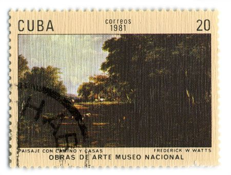 watts: CUBA - CIRCA 1981: A stamp printed in CUBA shows paint by Frederick W. Watts Landscape With Road And Home, circa 1981. Editorial