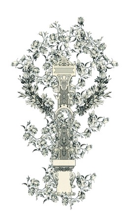 Luxuriously illustrated old capital letter I with flowers.
