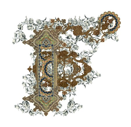 luxuriously: Luxuriously illustrated old capital letter F with flowers.