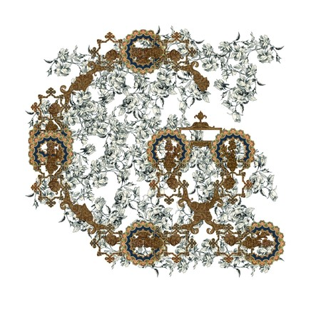 Luxuriously illustrated old capital letter G with flowers. photo