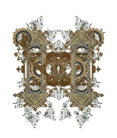 luxuriously: Luxuriously illustrated old capital letter H with flowers.