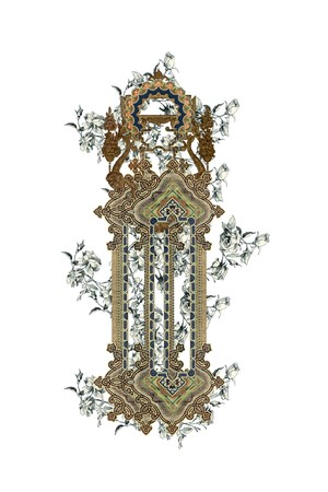 Luxuriously illustrated old capital letter I with flowers. photo