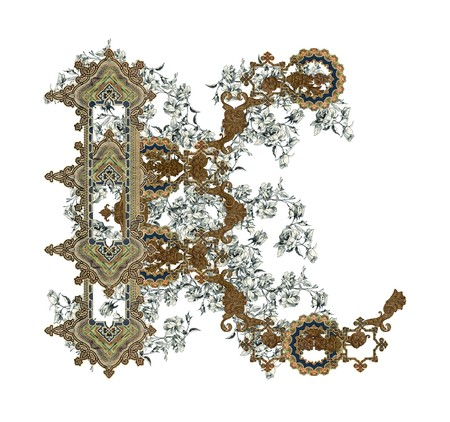 old letters: Luxuriously illustrated old capital letter K with flowers. Stock Photo