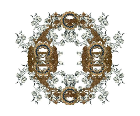 old victorian letter: Luxuriously illustrated old capital letter O with flowers. Stock Photo