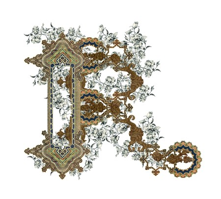 r image: Luxuriously illustrated old capital letter R with flowers. Stock Photo
