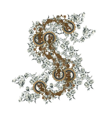 Luxuriously illustrated old capital letter S with flowers. photo