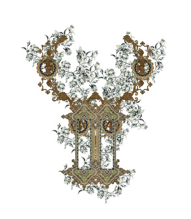 Luxuriously illustrated old capital letter Y with flowers. Stock Photo