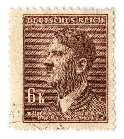 hitler: GERMANY - CIRCA 1937: An GERMANY Used Postage Stamp showing Portrait of Adolf Hitler, circa 1937. Editorial