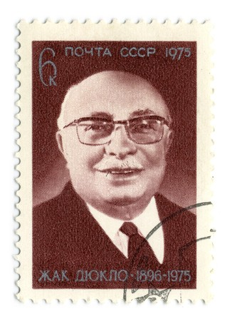 publicist: USSR - CIRCA 1975: An USSR Used Postage Stamp showing Portrait of French Communist politician Jacques Duclos, circa 1975.