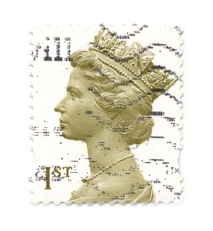 postal office: UNITED KINGDOM - CIRCA 2000: An English Used First Class Postage Stamp showing Portrait of Queen Elizabeth, circa 2000.