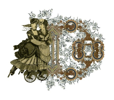 luxuriously: Luxuriously illustrated old capital letter D with flowers and two woman on roller scates.