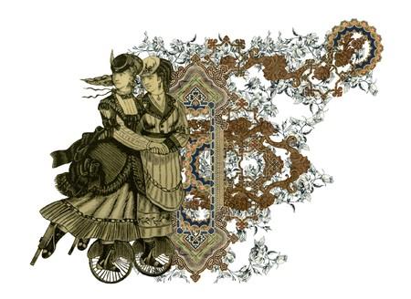Lujosamente ilustrado vieja letra F con flores y dos mujer en scates de rodillos. Foto de archivo - 7020702