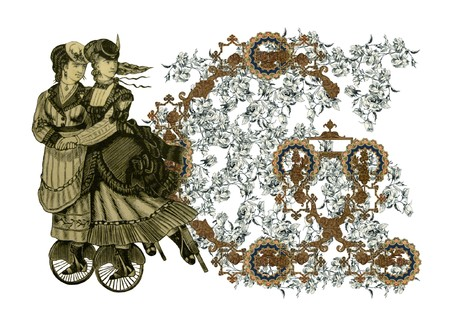 Luxuriously illustrated old capital letter G with flowers and two woman on roller scates. photo