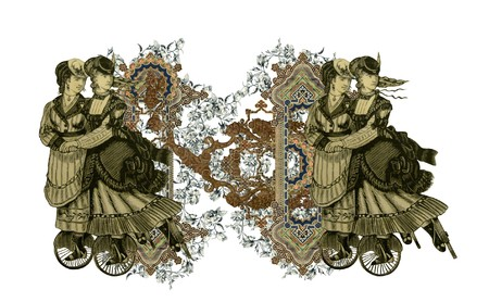Luxuriously illustrated old capital letter N with flowers and two woman on roller scates. photo